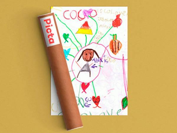 Lav en plakat med dine børns egne tegninger